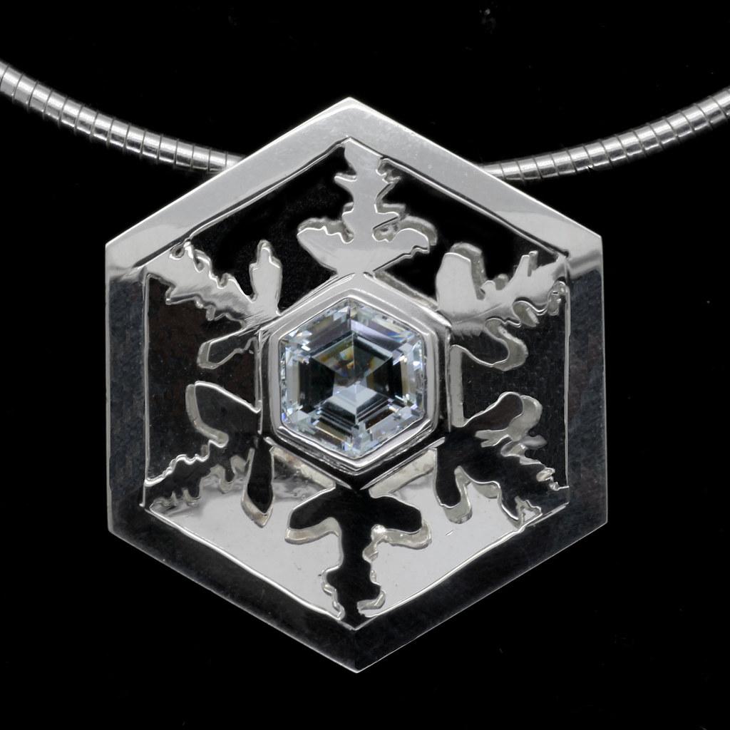 'Vivaldi' Large silver and aquamarine snowflake pendant