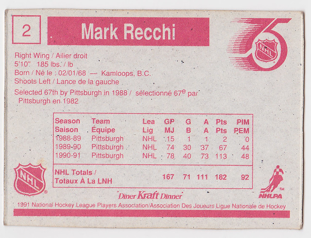 Kraft Dinner - Mark Recchi - Back