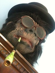 Uncle Simian (The Indecent Exposer) Tags: silly furry dress mask gorilla smoking fancy holder