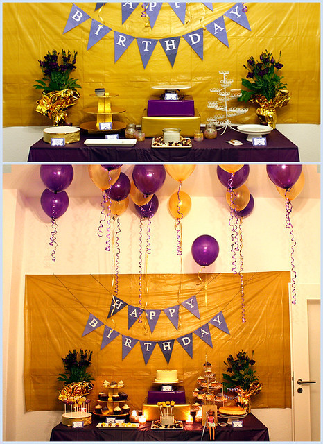 30th Birthday: Golden-Violet - Dessert & Party Table Theme - Decorators