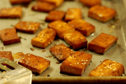 Baked marinated tofu squares by Eve Fox, Garden of Eating blog, copyright 2011