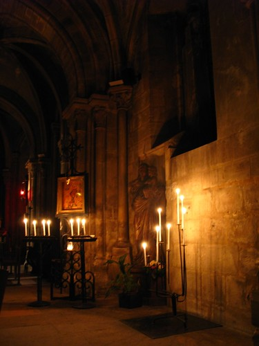 Oldest church in Paris by candle light