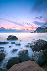 IHAMA Rocky beach in 5:02PM (-TommyTsutsui- [nextBlessing]) Tags: longexposure blue autumn light sunset sea sky seascape beach nature rock japan clouds landscape nikon purple dusk magic tide scenic wave shore       izu   minamiizu sigma1020   onsalegettyimages
