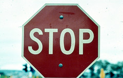 Stop Sign, 1970's (baytram366) Tags: road street old light red colour sign speed walking lights education crossing traffic eagle walk buttons south australian railway australia retro dont stop american 25 button adelaide poles sa schools 1970s press slides signal limit octagonal pedesrian