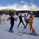 BC women athletes after testing the track for women World Cup downhill in Lake Louise