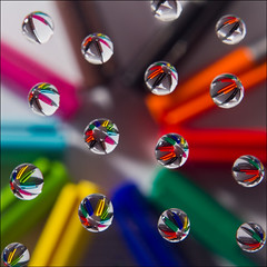Refracted Colours in Water (Mike Docherty) Tags: colour water drops refraction