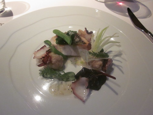 Manresa - Los Gatos, CA - June 2011 - Black Bass with Octopus, Clam Juice Perfumed with Coriander and Leek, Young Squash Shoots