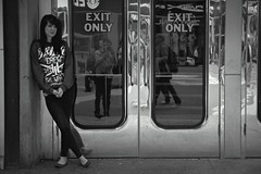 My Camera the Only Exit (FelixPagaimo) Tags: street new york city nyc ny girl square photography doors only times exit