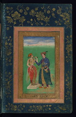 Album of Persian and Indian calligraphy and paintings, Jahngr giving a cup of wine to a young woman, Walters Manuscript W.668, fol.40b (Walters Art Museum Illuminated Manuscripts) Tags: india illustration painting miniature persian poetry iran album 17thcentury indian 19thcentury illumination literature calligraphy 18thcentury islamic accordionbook waltersartmuseum 16thcentury nineteenthcentury mughal qajar safavid sixteenthcentury eighteenthcentury seventeenthcentury httpthedigitalwaltersorg