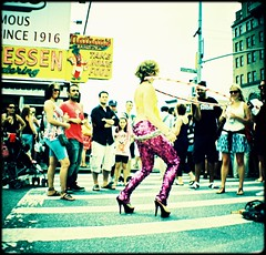 lEGAL mERMAID by crooleek (luka_bracki) Tags: camera nyc gay ny newyork film brooklyn 35mm toy island lomo xpro lomography fuji cross slide mini parade plastic diana 100 mermaid coney provia processed 2011