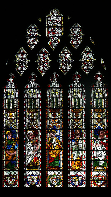 King Abijah and four Prophets Medieval stained glass tewkesbury abbey