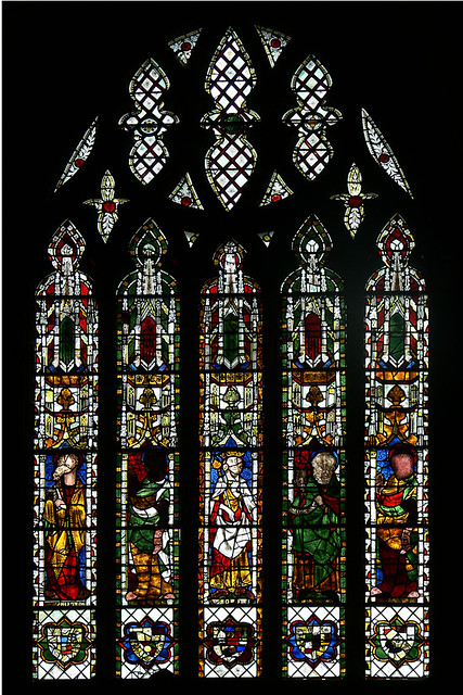 King Rehoboam and four Prophets Medieval stained glass tewkesbury abbey