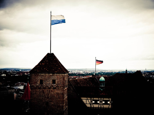 Bavarian flag, and German flag, on the Nuremberg Castle