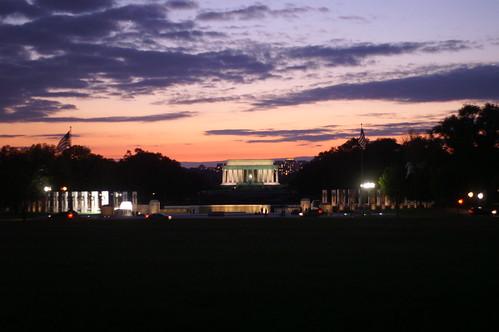 Lincoln Memorial and Pearl Harbor Memorial at night
