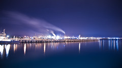 Port Kembla Steelworks [Explored] (Taha Elraaid) Tags: blue night canon lights steel australia nsw 7d taha wollongong steelworks portkembla kembla 1585mm elraaid tahaphotography