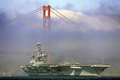 Out of the Fog (mvonraesfeld) Tags: show sanfrancisco california ca bridge fog usmc plane golden us flying gate ship aircraft aviation military air flight navy class airshow carl marines aircraftcarrier usn uss fleetweek vinson nimitz 2011 goldeagle img5134 cvn70 supercarrier