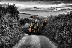 Countryside Rush Hour (rmrayner) Tags: road tractor rural landscape countryside farming devon lane selectivecolour hedgetrimmer explored topazadjust imagesinflickrexplore