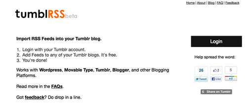 TumblRSS | Import RSS Feeds into Tumblr