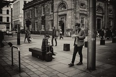 Chips (stephen cosh) Tags: life street city people blackandwhite bw students sepia mono scotland town unitedkingdom glasgow candid streetphotography rangefinder chips fujifilm chippy reallife humancondition x100 blackandwhitephotos blackwhitephotos fujix100
