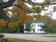 Colonial in Center of Salisbury, NH (catchesthelight) Tags: blue trees red orange white color green fall cemetery leaves yellow fence maple scenery colorful moments newengland nh fallfoliage foliage stonewall birch maples gravestones momentos picket leafpeeping itsmulticolored centralnewhampshire fallfoliagephotography