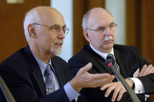 Prof. Fotis C. Kafatos, First ERC President and Chair of its Scientific Council and Prof. Matthias Kleiner, President of the Deutsche Forschungsgemeinschaft, DFG (German Research Foundation), ERC Launch conference, Berlin, Germany, 27-28 February 2007