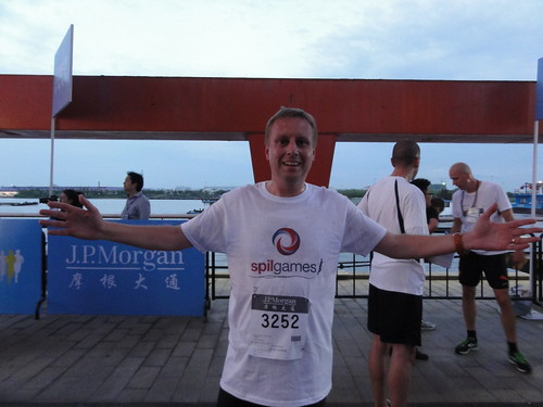 At the finish of the JP Morgan Corporate Challenge