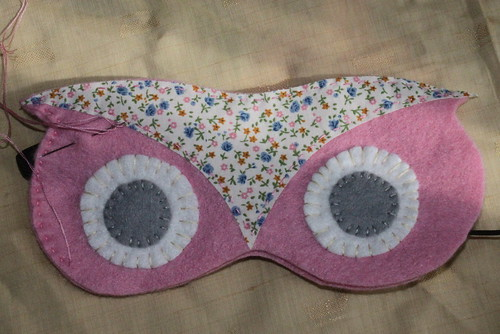 Pink owl sleep mask