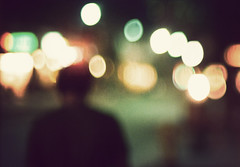 """but you're still the same"" (jimmay bones) Tags: silhouette night nikon bokeh grain nightlife fm2"