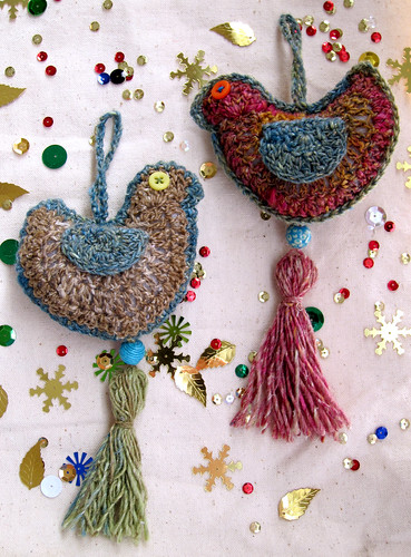 crochet bird ornaments