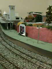 Moderne Fantasy layout update: retaining wall (FrMark) Tags: road uk railroad england art station layout town thirties model britain style railway moderne lincolnshire gb artdeco stamford deco lincs