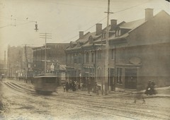[Montreal street scene showing blurry tram] (Thomas Fisher Rare Book Library) Tags: quebec trolley universityoftoronto tram transportation windsor peel streetcar stantoine thomasfisherrarebooklibrary montrealtramwayscompany compagniedestramwaysdemontral