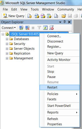 SQL Error - Restart Server