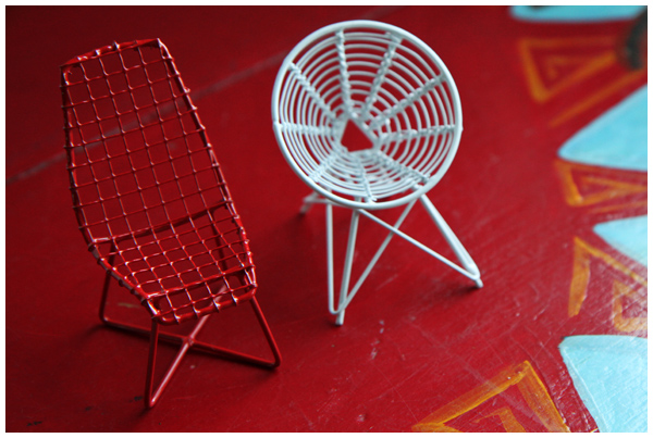 Miniature modern chairs (wire Christmas Tree ornaments from CB2)