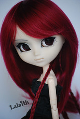* Black & Red Suzaku * (_Lalaith_) Tags: red black hair doll noir dress maroon pullip neo braids lalaith azone suzaku usagihime rewigged