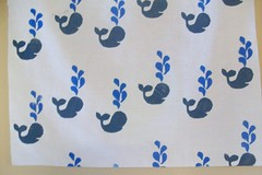 block printing take two: whales (imaginegnats) Tags: handmade fabric handprinted blockprinting