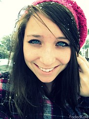 Winter Skies & Blue Eyes. (FadedKate) Tags: woman snow girl october kate blueeyes brunette katiebowers fadedkate blueeyesandwinterskies