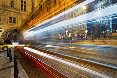 Passing by (Miroslav Petrasko (hdrshooter.com)) Tags: city light canon photography long exposure prague taxi tripod tram sigma prag praha praga center most 7d 1020mm brige hdr karlov karls photomatix elektricka theodevil