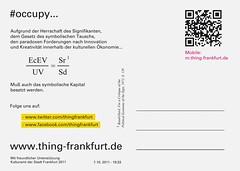 Occupy Schirn Postkarte Rückseite 2. Auflage Oktober 2011