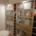 薄らと柄の入ったガラス扉の本棚の写真