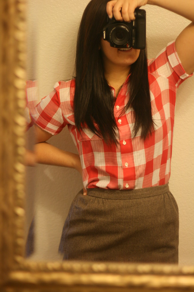 red gingham blouse. wool skirt.