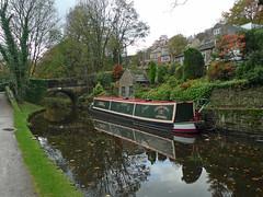 Chug (jrw080578) Tags: bridge autumn trees england reflections boats canal saddleworth narrowboats huddersfieldnarrowcanal