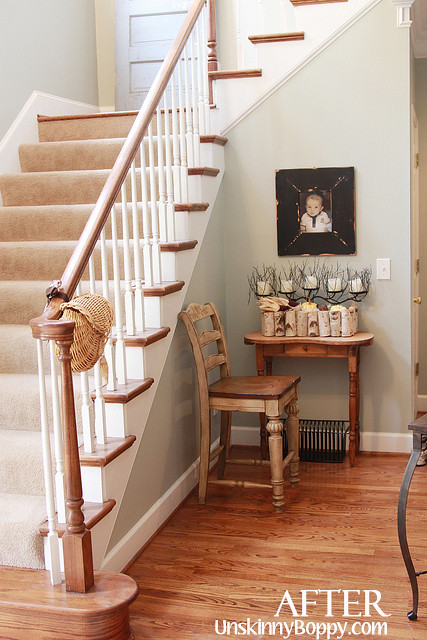 foyer with silver sage paint