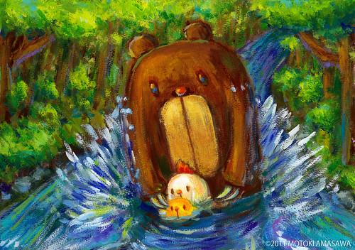 一枚絵27_クマむーとコケッコむーとひよっこむー、川を渡る