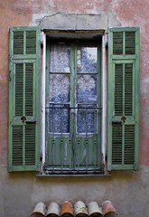 The Green Shutters, Provence (Rita Crane Photography) Tags: france window vintage shutters curtains provence fenetre volets gorbio alpesmaritimes architecturaldetails greenshutters stonevillage anciennemaison perchedvillage ritacranephotography wwwritacranestudiocom shuttersvillagesofprovence
