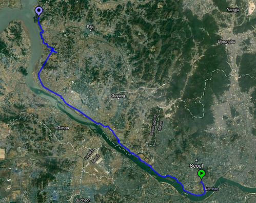 Route from Seoul to Odusan Observatory