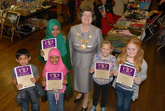 Group of children at the Eid festival with Councillor Eleanor Johnson (Cheshire West) Tags: festival port eid ellesmere