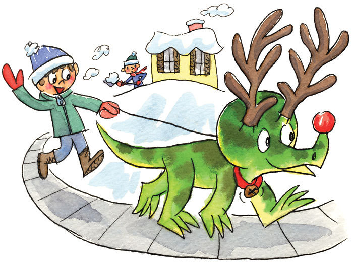 Rudolph The Red Nosed Triceratops Dan Moynihan Tags Christmas Holiday Snow Illustration