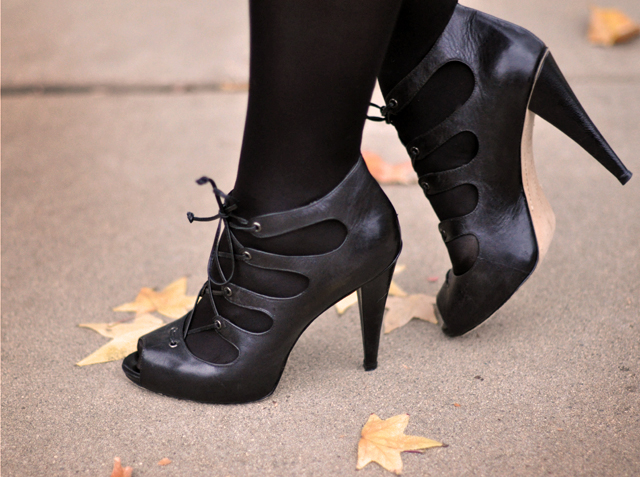 lace up leather heels -fall leaves
