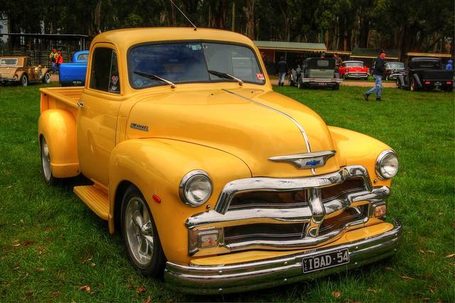 cars yellow bowtie 1954 chevy classics autos hdr cruisers hotrods gippsland kustomkulture worldcars 1954chevroletpickup lardnerpark kustomsofaustralia johnsrodandkustompicnic