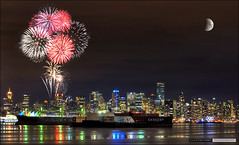 Vancouver: All Fun City (Clayton Perry Photoworks) Tags: moon skyline vancouver fireworks hdr